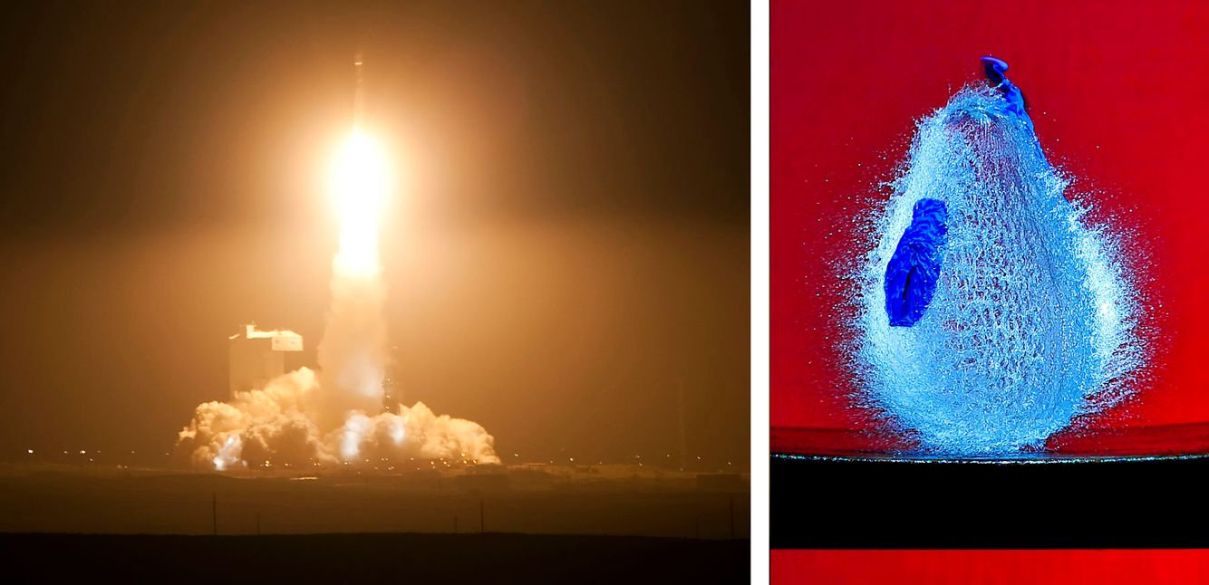 Rocket Launch; Vandenberg AFB (L); Bursting water balloon (R)
