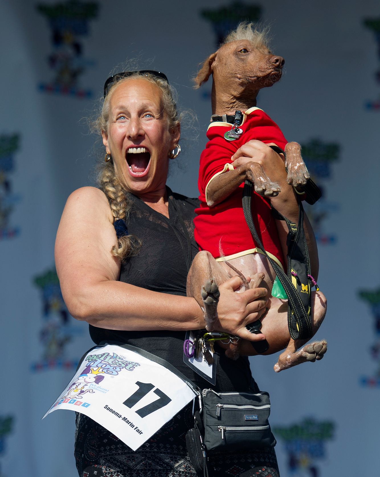 UGLY DOGS: A contestant displays her dog in the World's Ugliest Dog competition