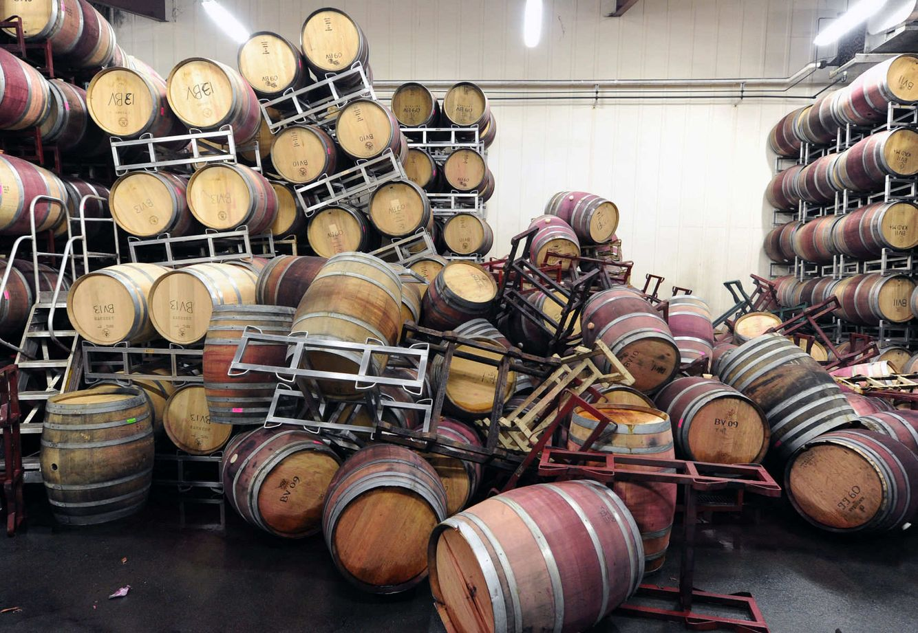 EARTHQUAKE: Barrels are strewn about at a winery in Napa, California after a 6.1 Earthquake struck the area.