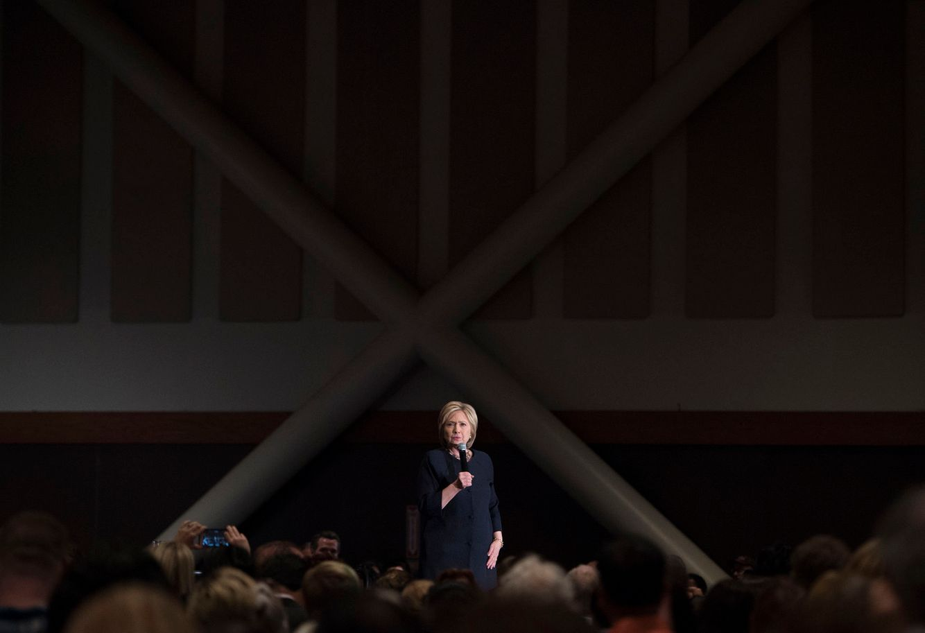 Hillary Clinton speaks during a campaign event in Las Vegas.