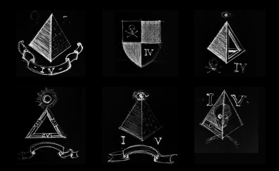 "Rough design sketches for a ""secret society"" crest"