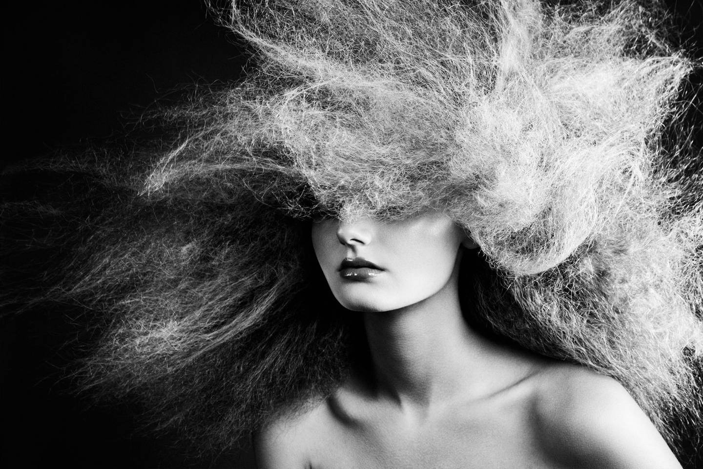 HAIR Texture in black and white