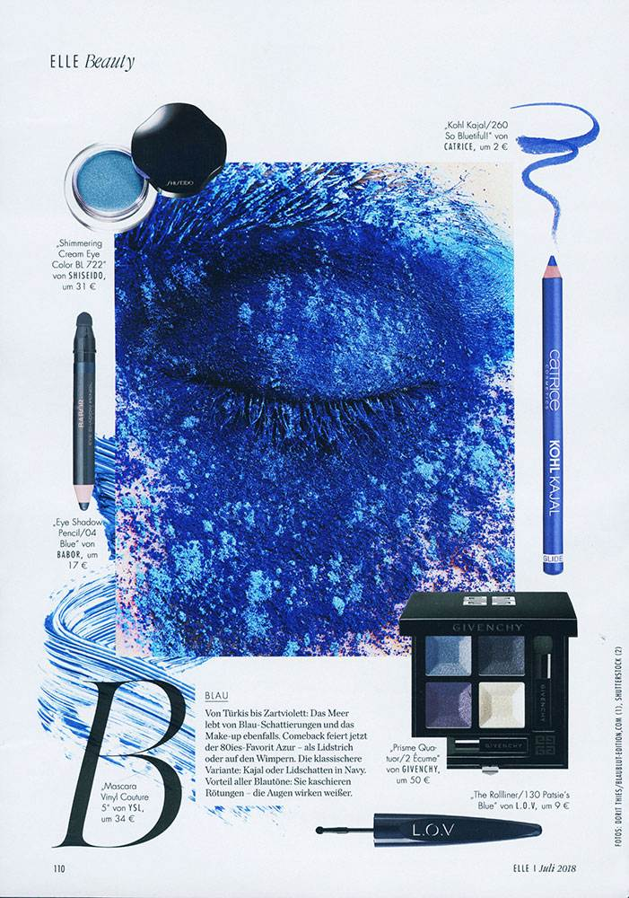 Shades of BLUE pigments over the closed eye, published in German Elle Beauty section