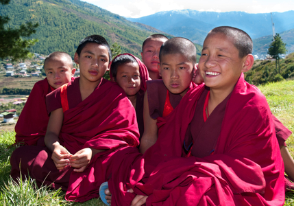 Young monks. Thimphu, Bhutan.