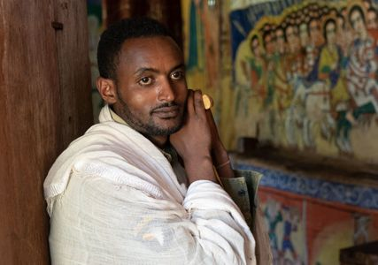 Priest at  St. Mary's Church. Lake Tana, Ethiopia