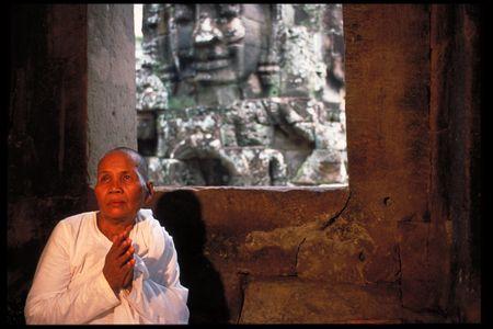 Nun. Angkor Wat, Cambodia