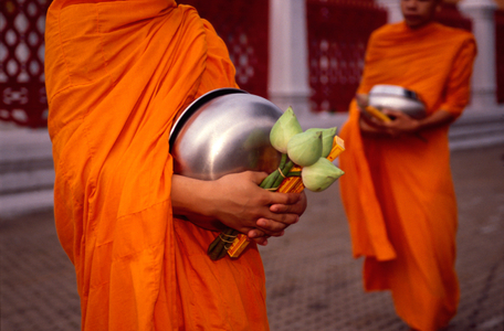 Monks with Alms. Bangkok, Thailand