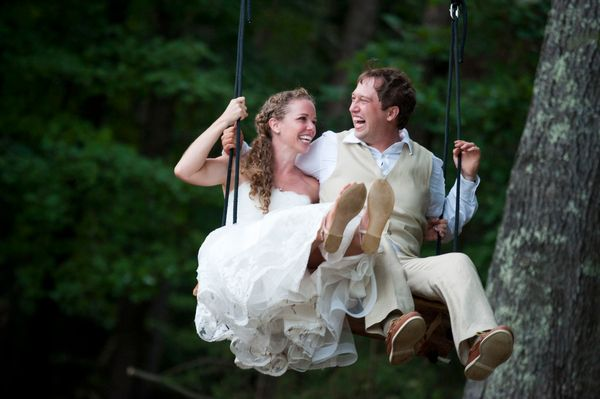 Wedding Couple on Swing