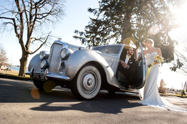 Classic car wedding photography