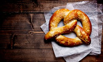 Large Pretzel on Wood background
