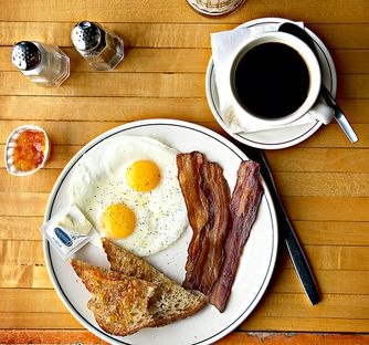 Classic Diner Breakfast on Wood table background