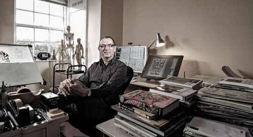 "Comic Book Artist/Illustrator Dave Gibbons Photographed for ""The Artist Within: Book 2"""