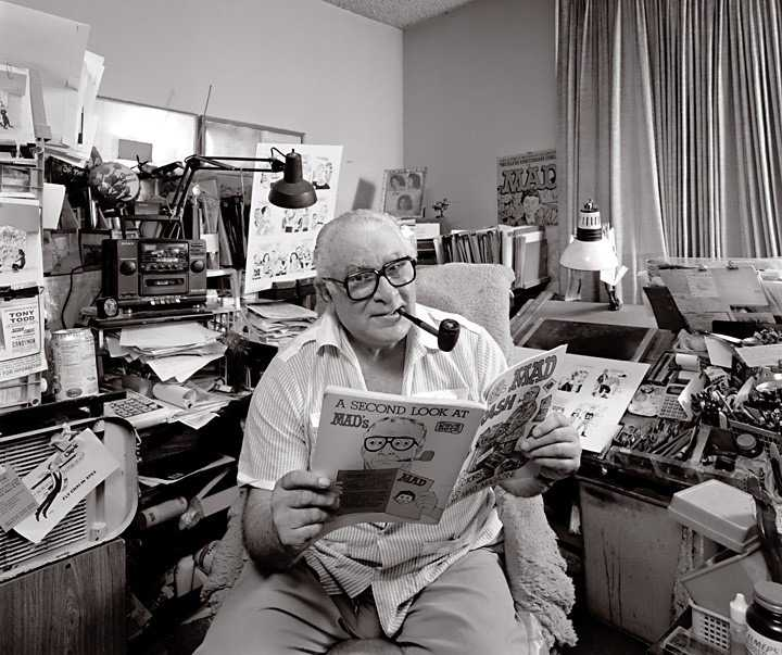 In studio portrait of Cartoonist Dave Berg Photographed by  Greg Preston for The Artist Within.