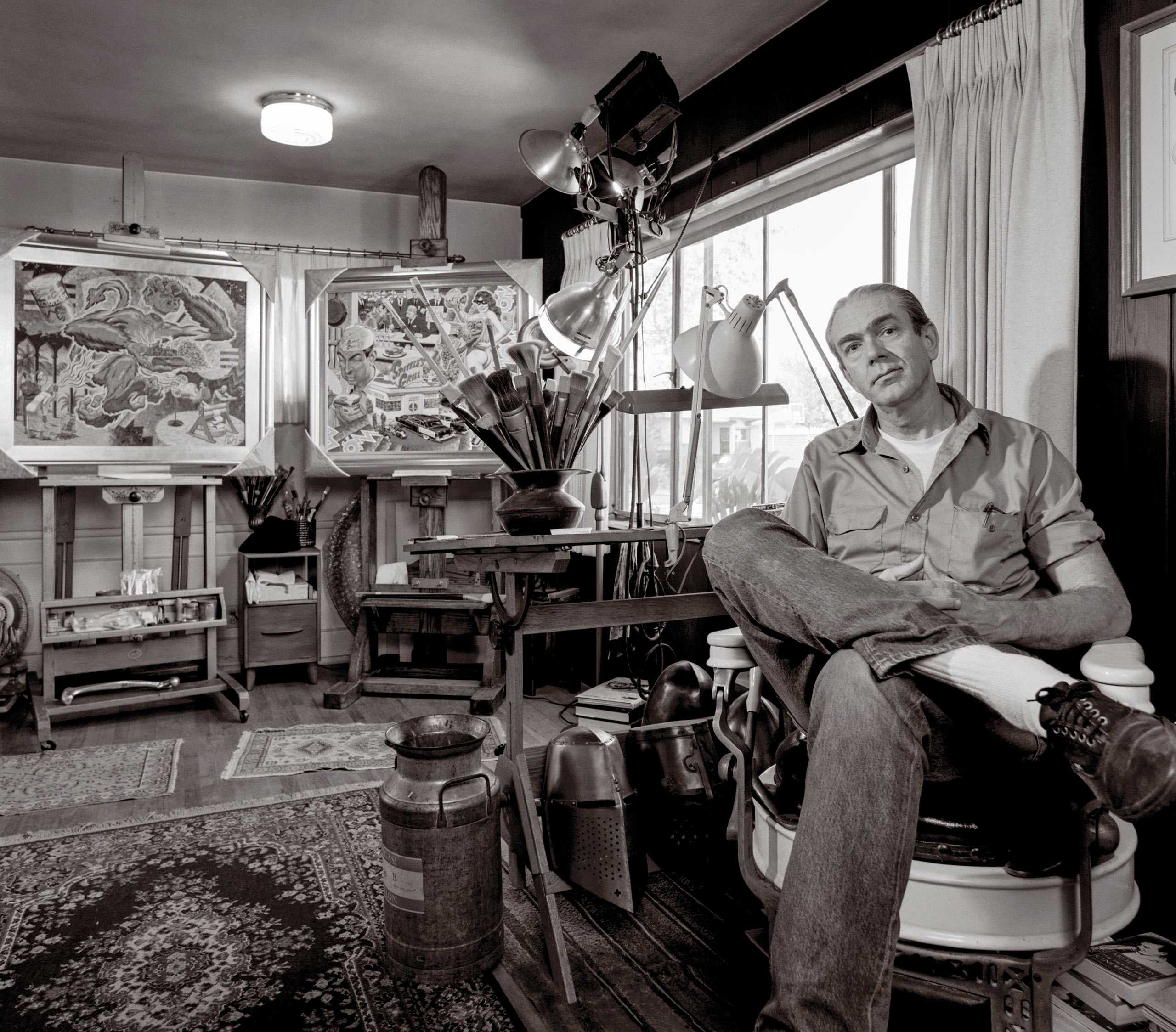 """Cartoonist, Artist, Sculptor Robert Williams Photographed in his studio, Photographed for """"The Artist Within"""""""