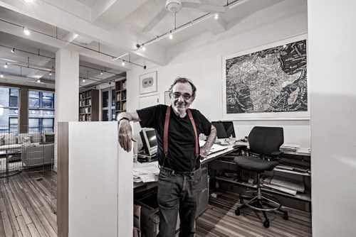 Portrait of Designer Seymour Chwast in his studio fo The Artist Within: Book 2