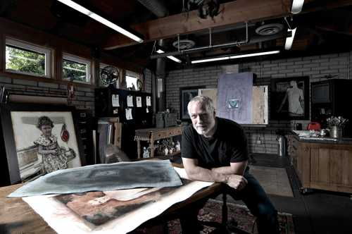 "Portrait of Illustrator Drew Struzan in his Southern California  Studio for ""The Artist Within: Book 2"