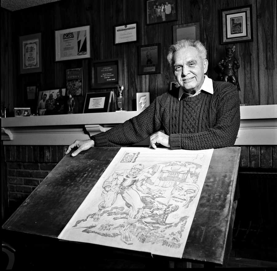 Portrait of  Comic Book Artist Jack Kirby in his studio