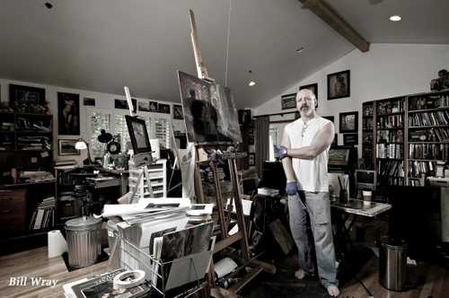 In studio portrait of Fine Artist/ Illustrator William Wray