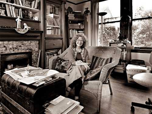 Artist Trina Robbins in her writing room