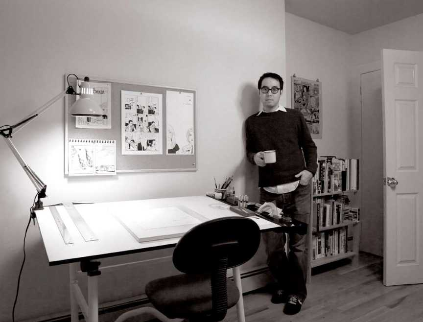 Adrian Tomine photographed in his home studio for The Artist Within