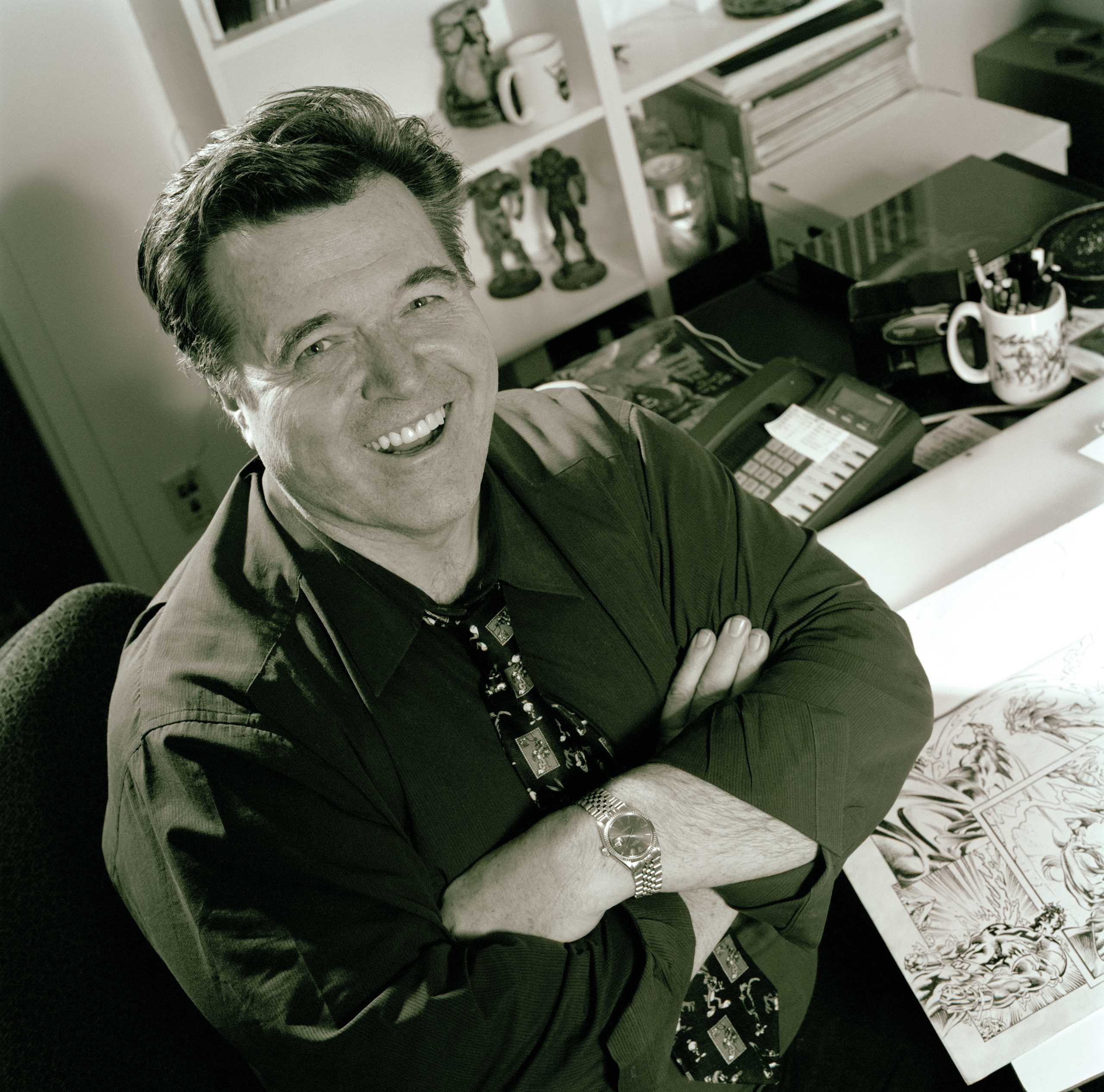 """Portrait Of  Comic Book Artist and Illustrator Neal Adams in his NY studio, Photographed for the book series """"The Artist Within"""""""