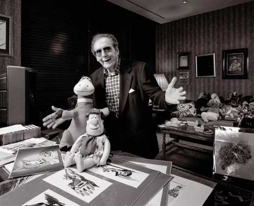Cartoonist Animator Joe Barbera photographed in his office at Hanna Barbera Productions .