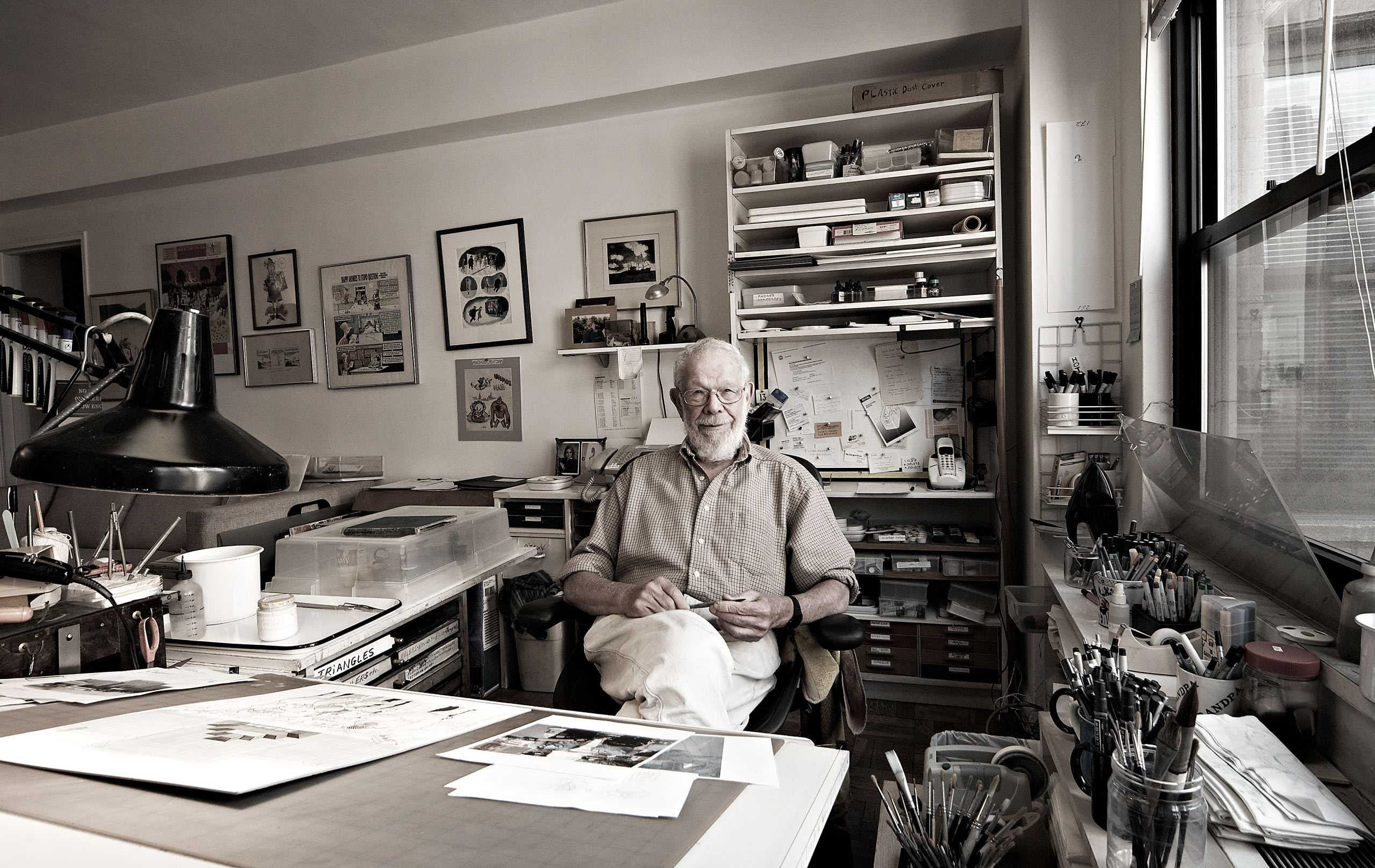 Artist/Illustrator Al Jaffee photographed in his studio for the Artist Within