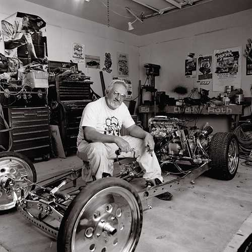 "Portrait of Cartoonist/ Car Designer Ed ""Big Daddy"" Roth photographed in his custom car shop in Manti, Utah"