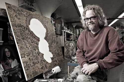 "Artist/Illustrator Ron English photographed in his studio for ""The Artist Within: Book 2"""