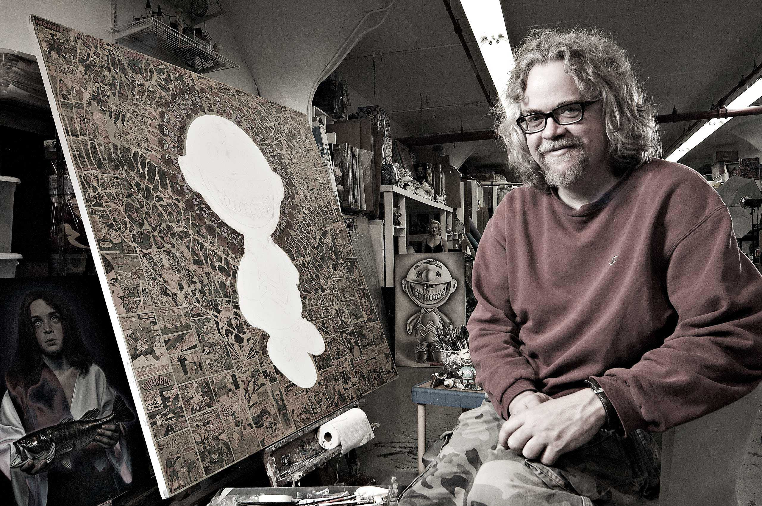 """Artist/Illustrator Ron English photographed in his studio for """"The Artist Within: Book 2"""""""