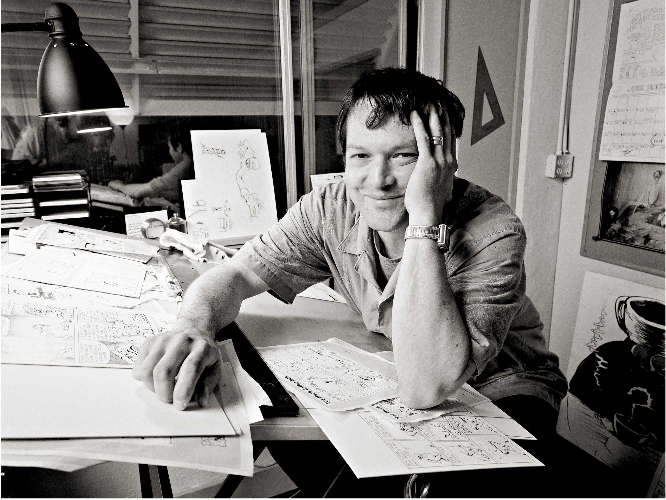 Cartoonist Shannon Wheeler Photographed in his Portland studio