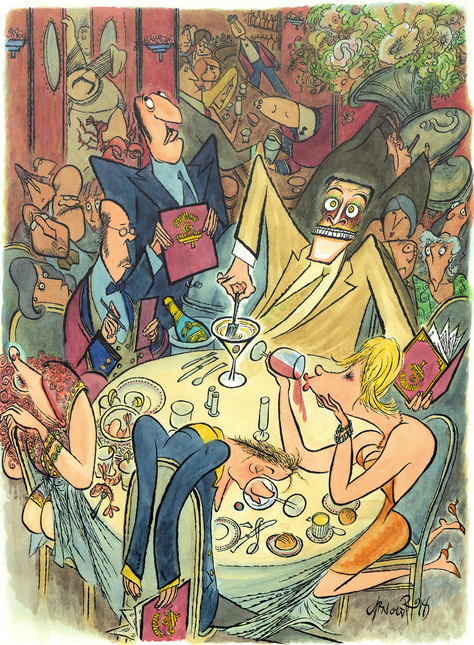 Illustration by Cartoonist Arnold Roth for the New York Times