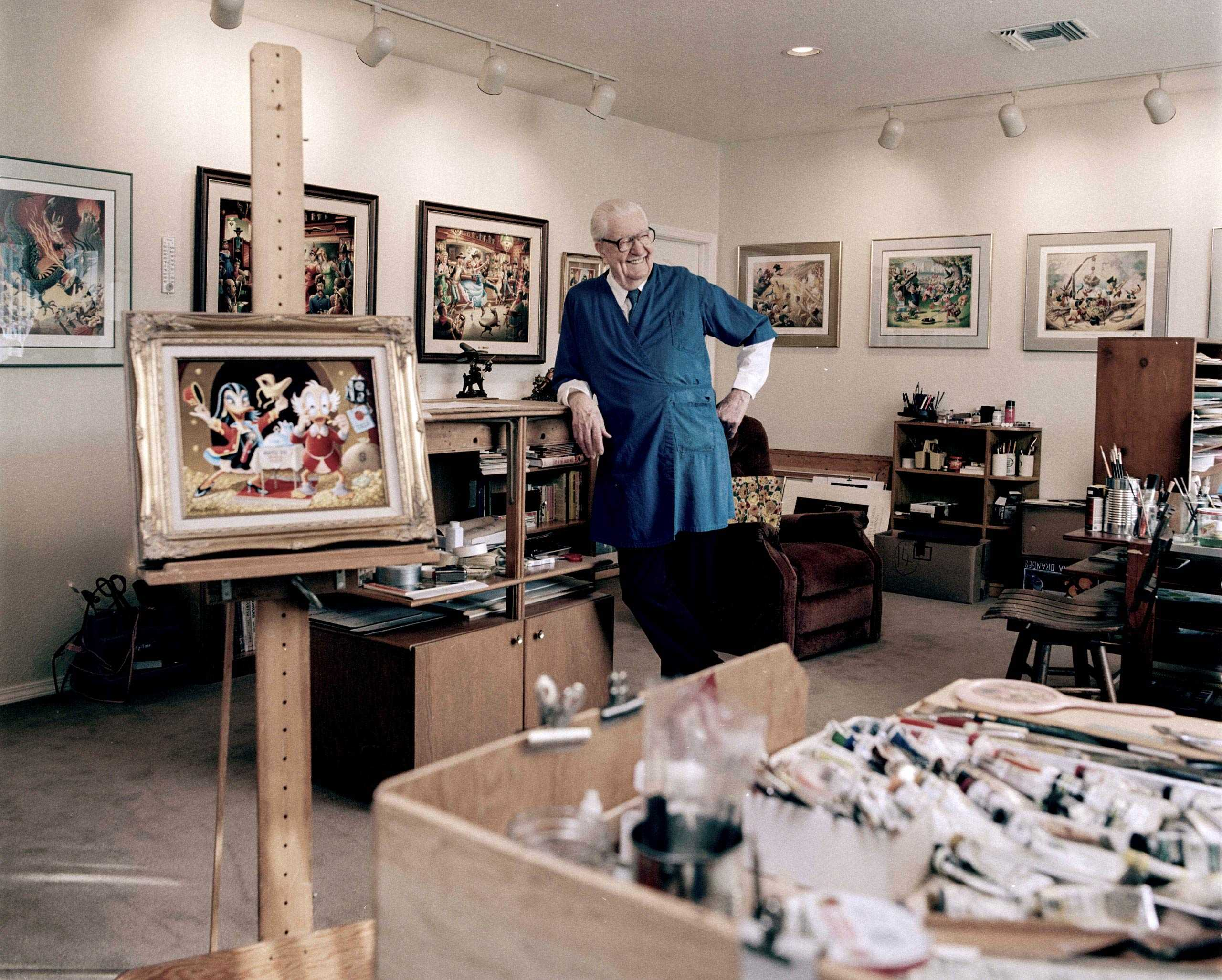 """Cartoonist Carl Barks photographed in his studio for """"The Artist Within """" Book Project"""
