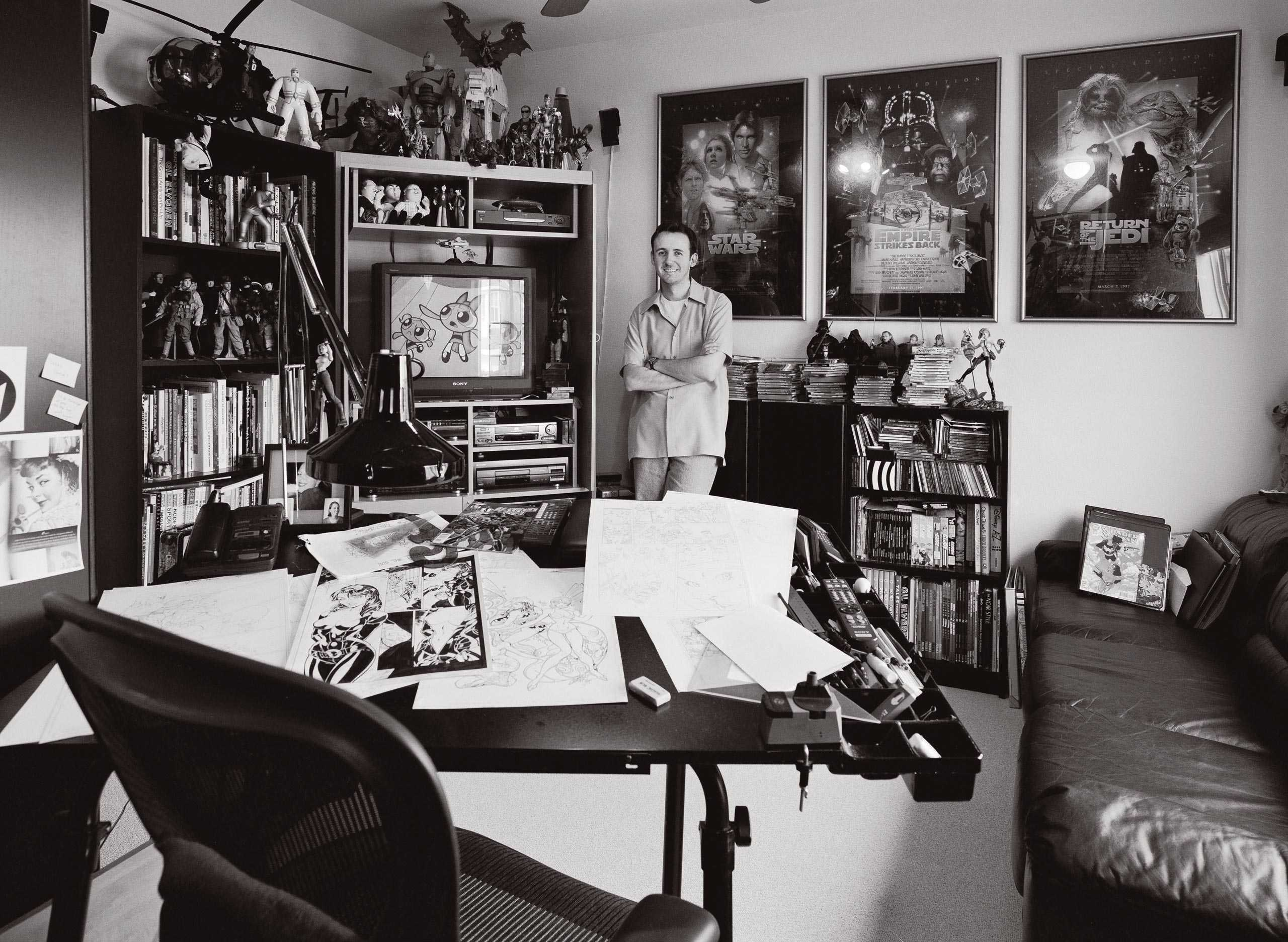 """Comic Book Artist/ Illustrator Jeff Scott Campbell photographed in studio fo """"The Artist Within"""""""