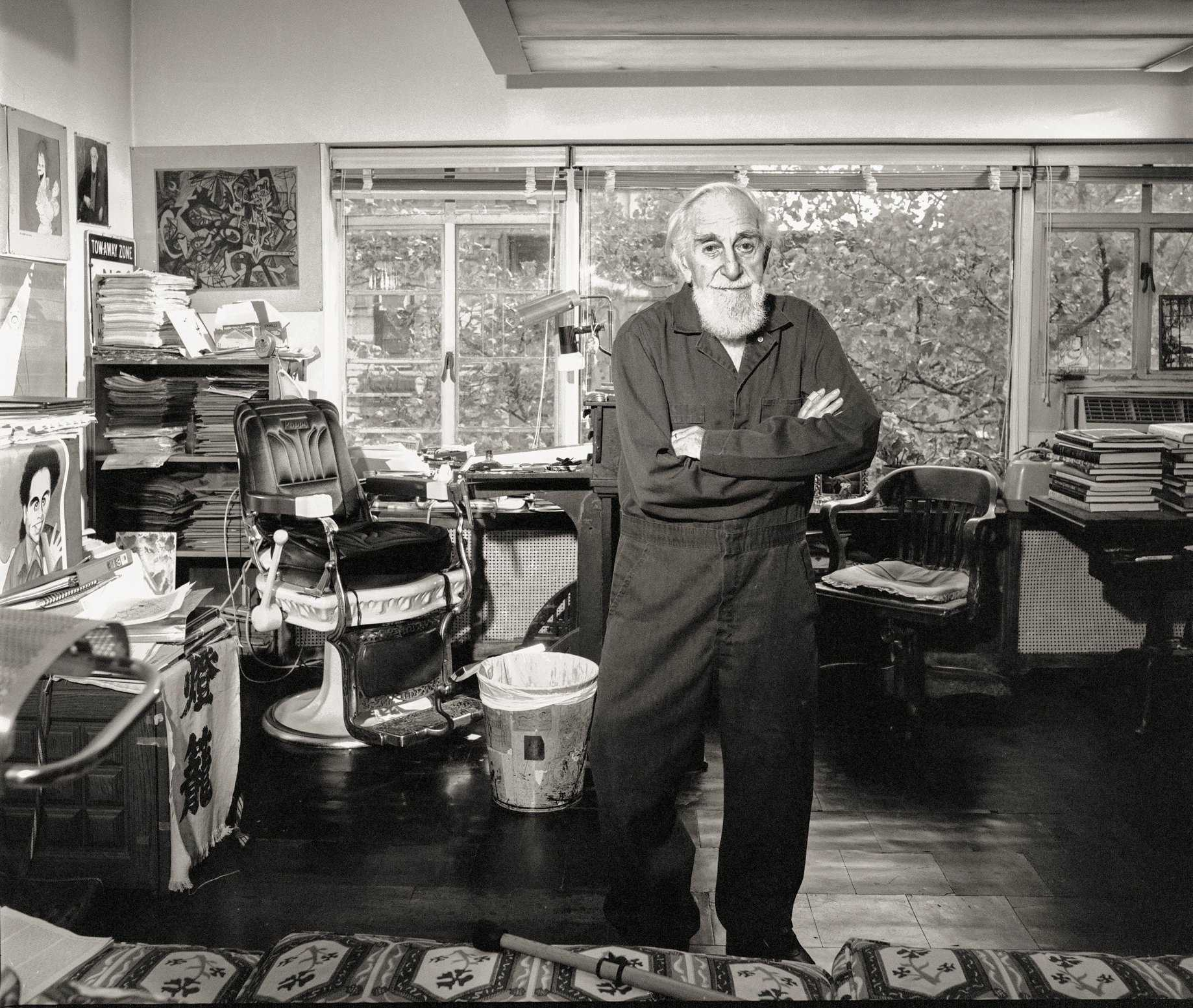 Artist/Illustrator/Caricaturist Al Hirschfeld, Photographed in his Manhattan Studio.