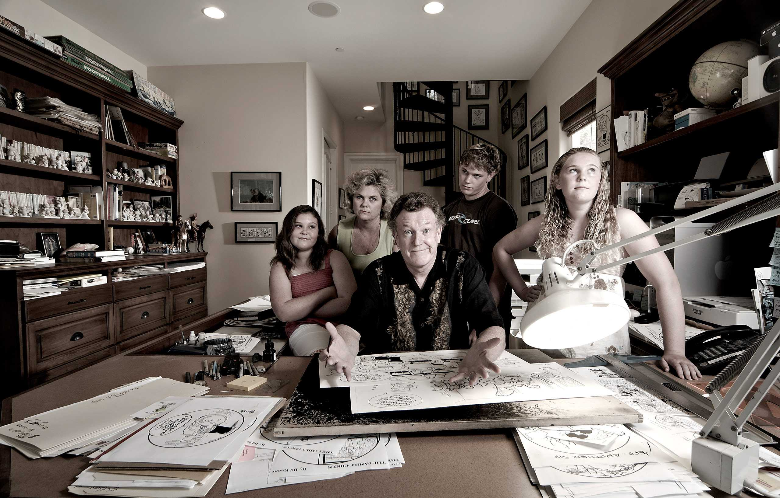 Portrait of Jeff Keane with his Family Circus