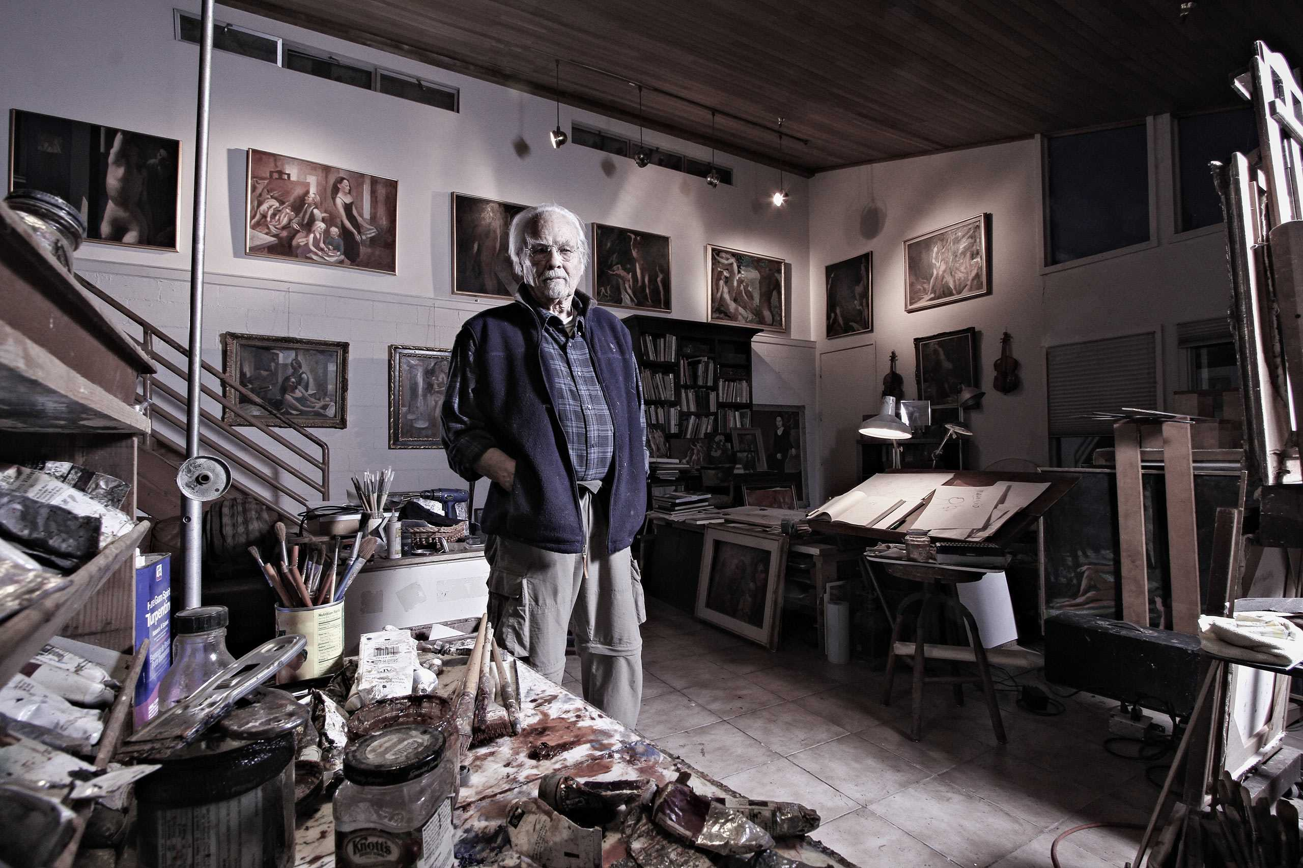 Fine Artist/ Painter Harry Carmean photographed in his studio for The Artist Within portrait project