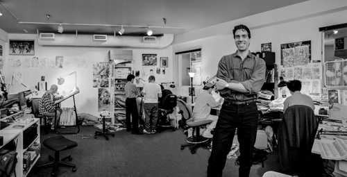 Portrait Of Comic Book Artist/Creator Marc Silvestri in his studio at Top Cow Productions