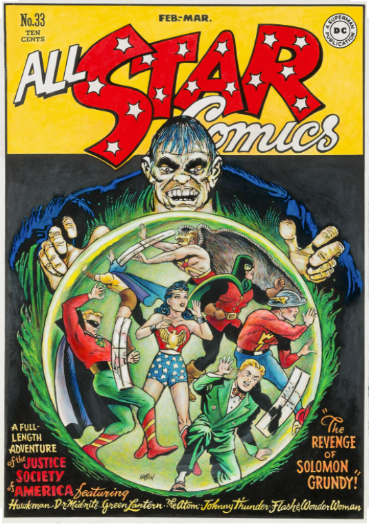 All Star Comics #33, Cover By Cartoonist Irwin Hasen