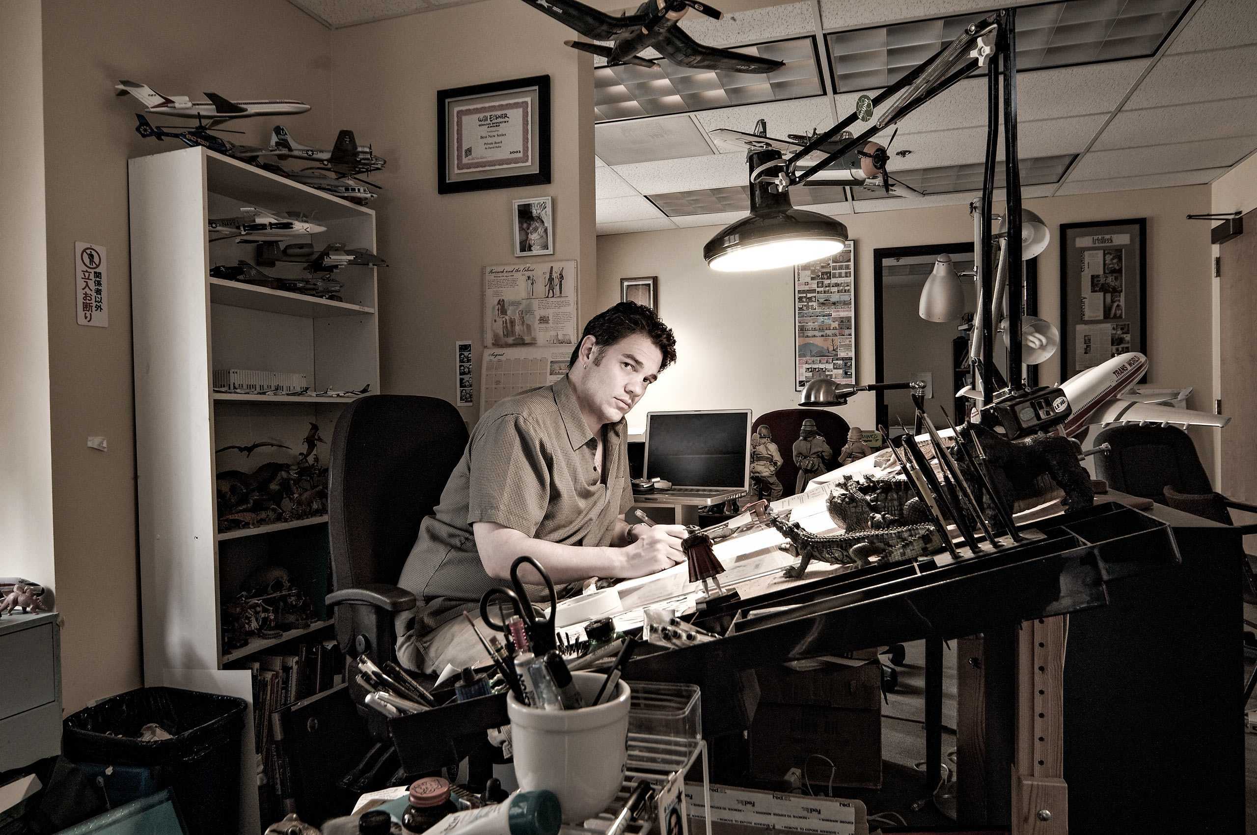Comic Book Artist David Hahn, photographed in his studio