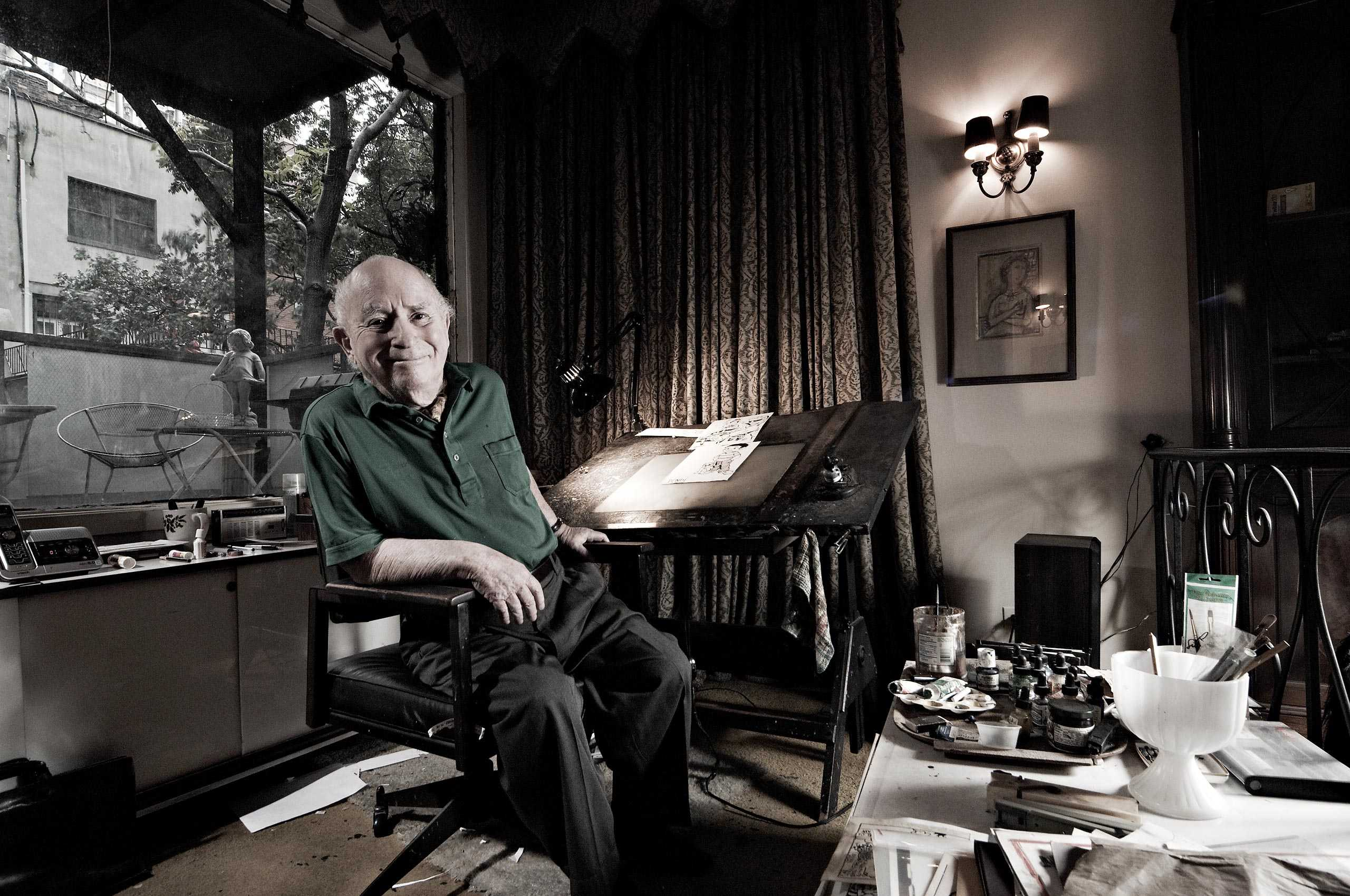 """Comic Book Artist/ Cartoonist Irwin Hasen photographed for the portrait book series """"The Artist Within: Book 2"""""""