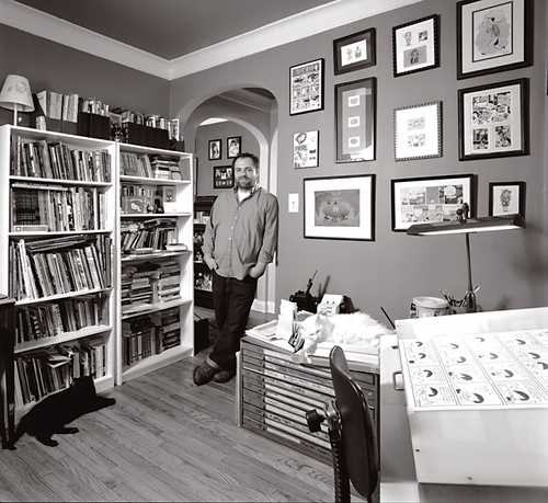 Cartoonist Ivan Brunetti photographed in his Chicago studio!