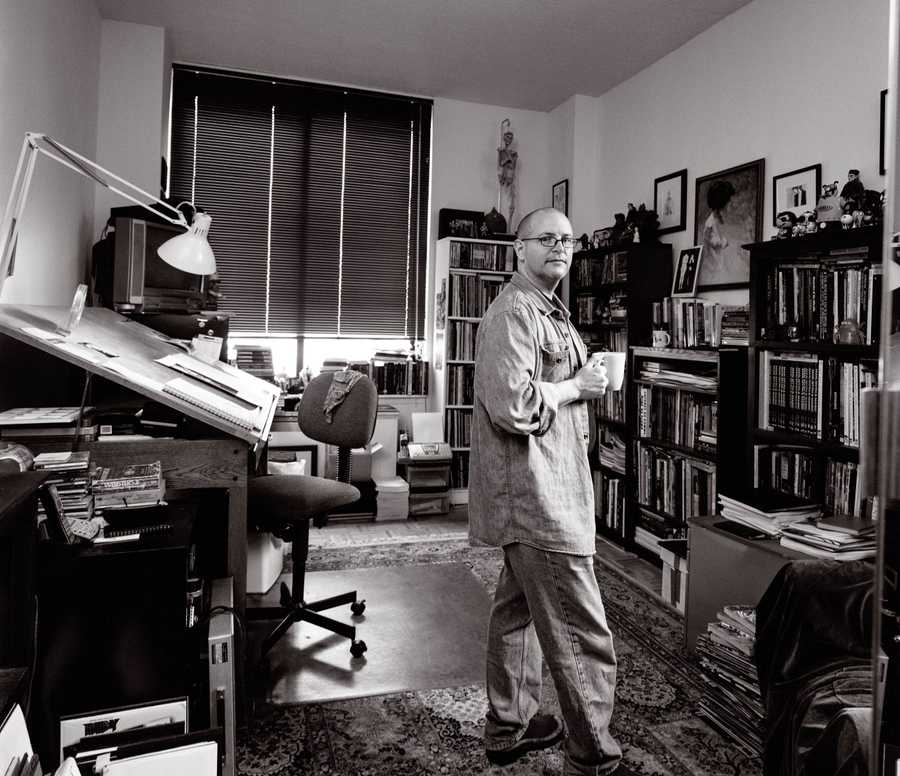 Portrait of Comic Book Artist and Illustrator Mike Mignola in his NY studio