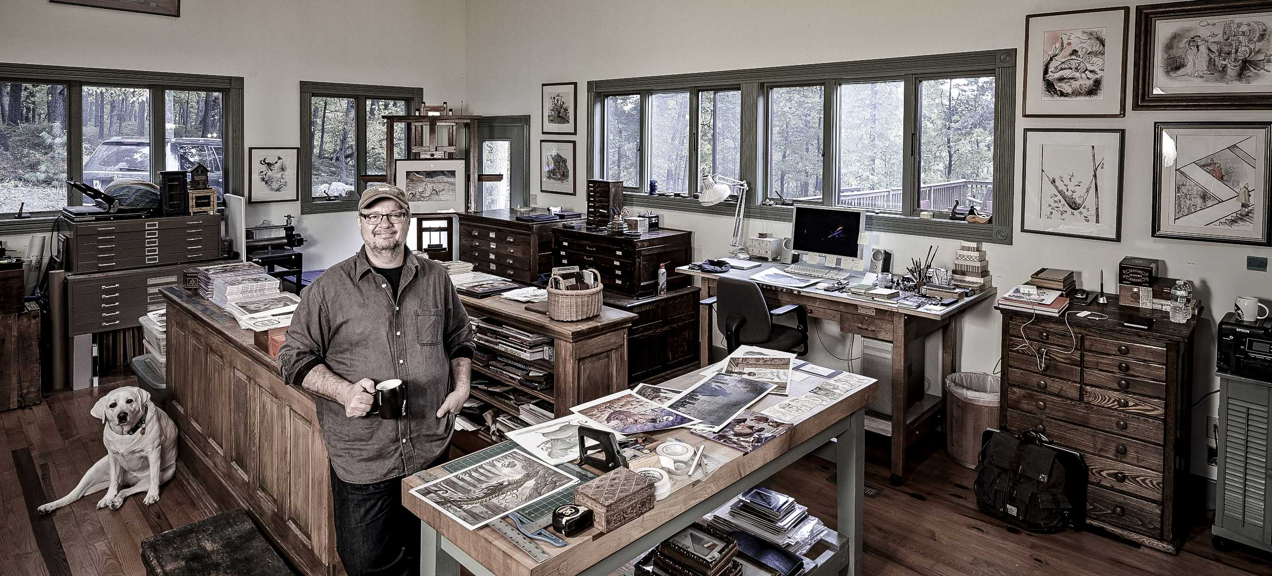 Illustrator Brian Ajhar, photographed in his Pennsylvania Studio