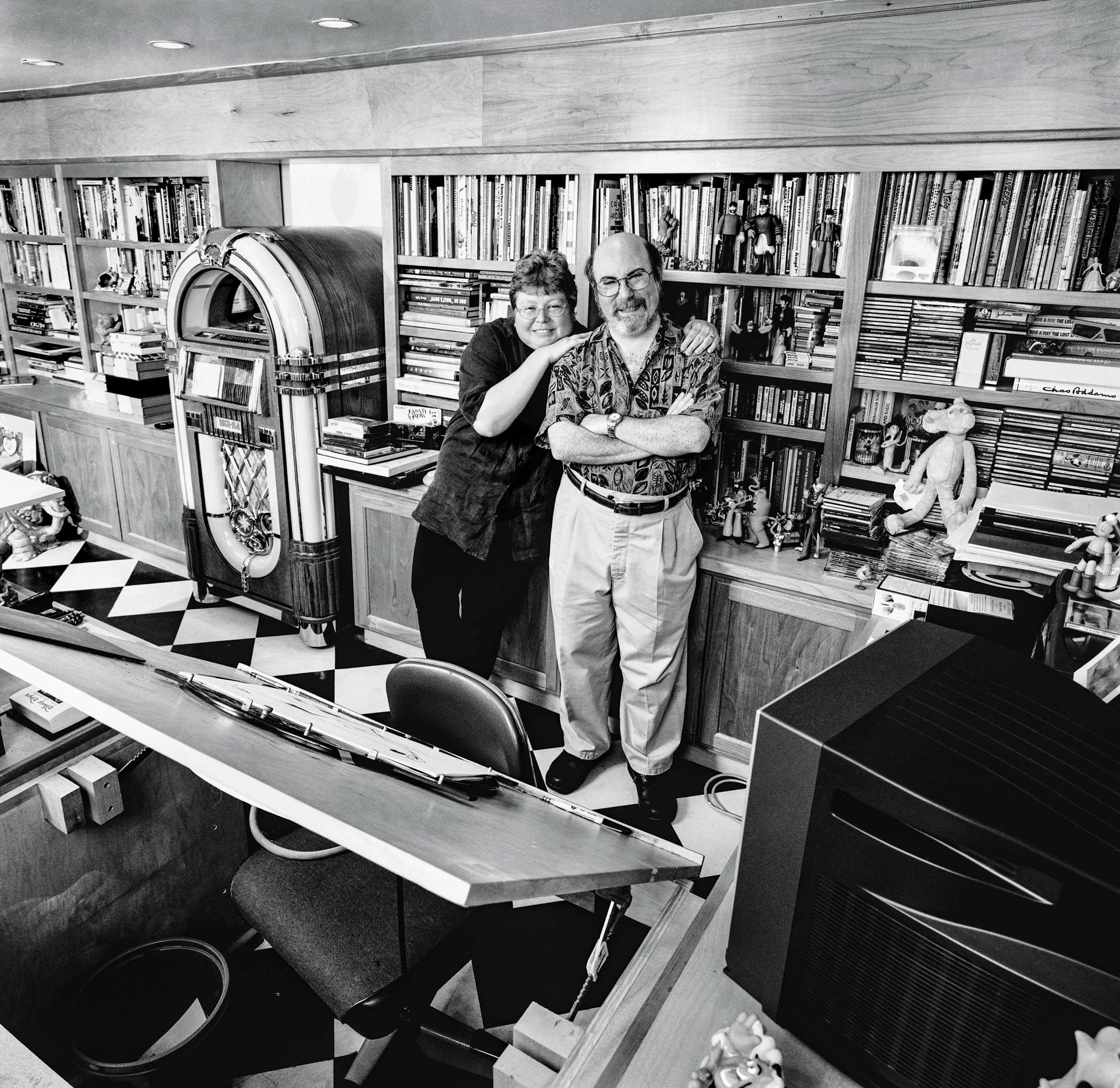 """Animators Eric and Susan Goldberg, photographed in their home studio for """"The Artist Within"""" Book 1"""