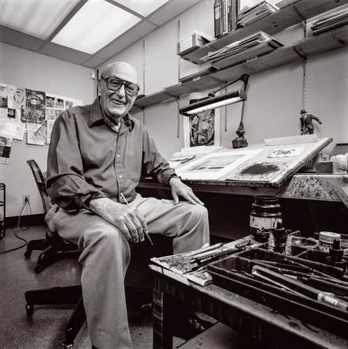 Portrait of Comic Book Artist/ Illustrator Will Eisner, photographed in his studio in Tamarac , Florida