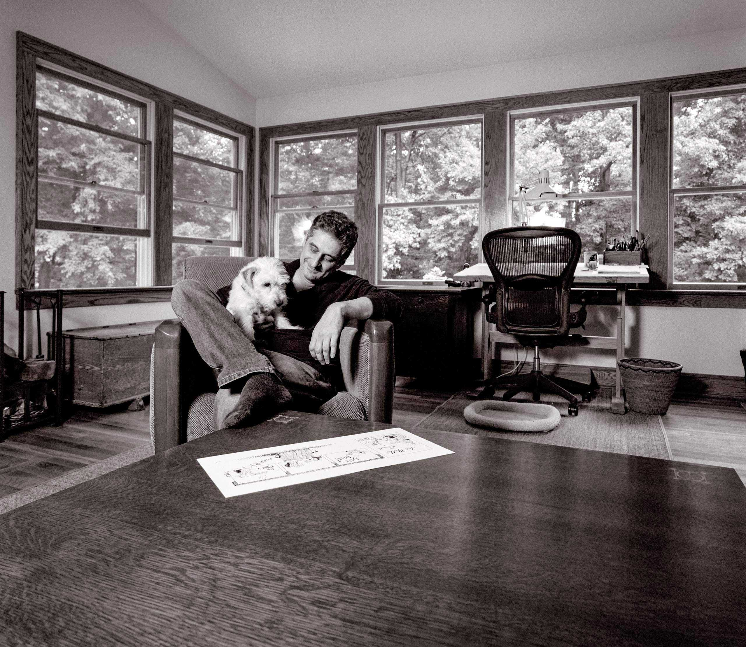 """Cartoonist, Illustrator, Author and Playwright Patrick McDonnell photographed in his studio for """"The Artist Within"""""""