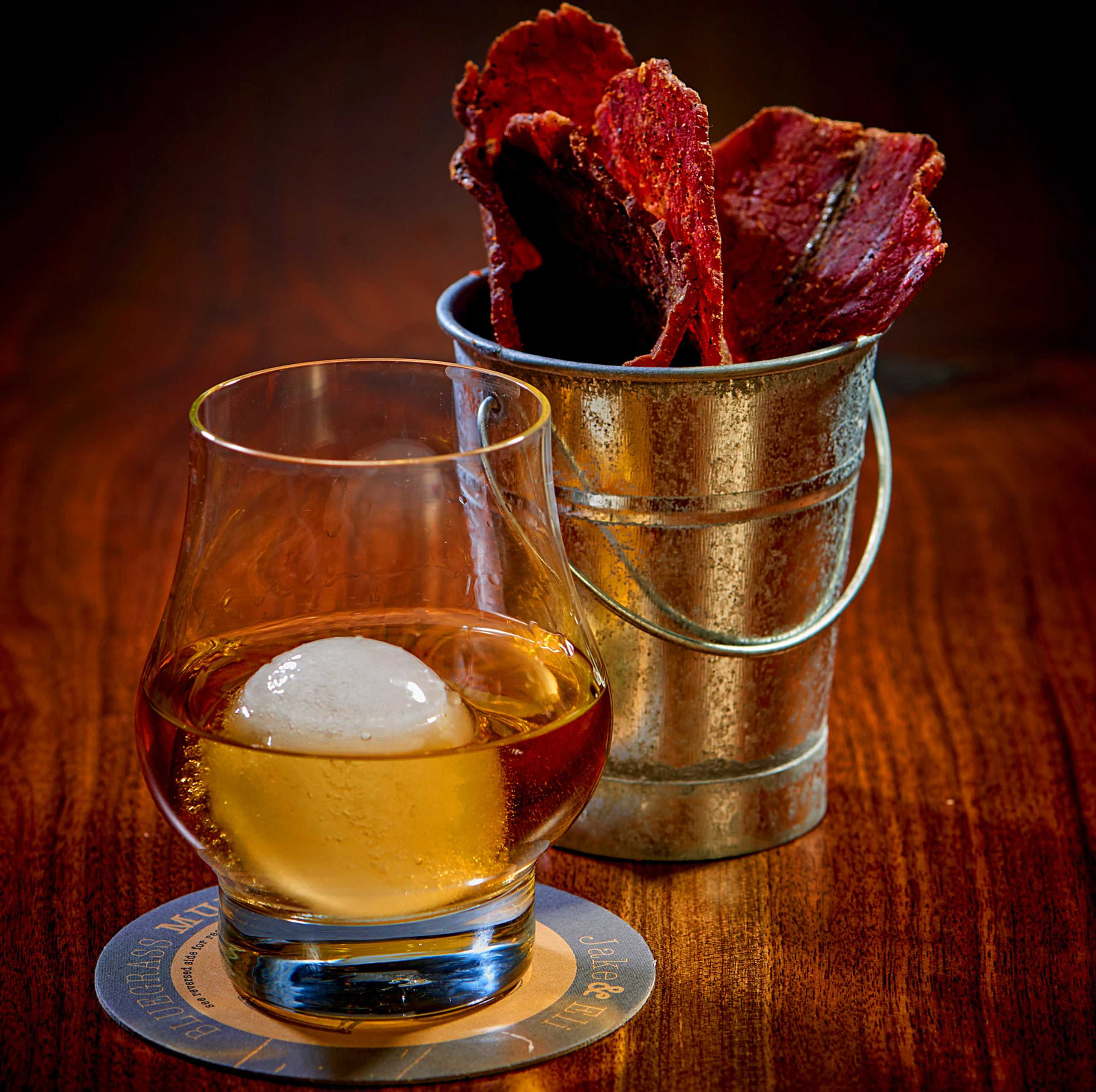 """House Made Beef Jerky and Bourbon, at """"Jake and Eli"""" at The Westin Hotel And Spa, Las Vegas"""