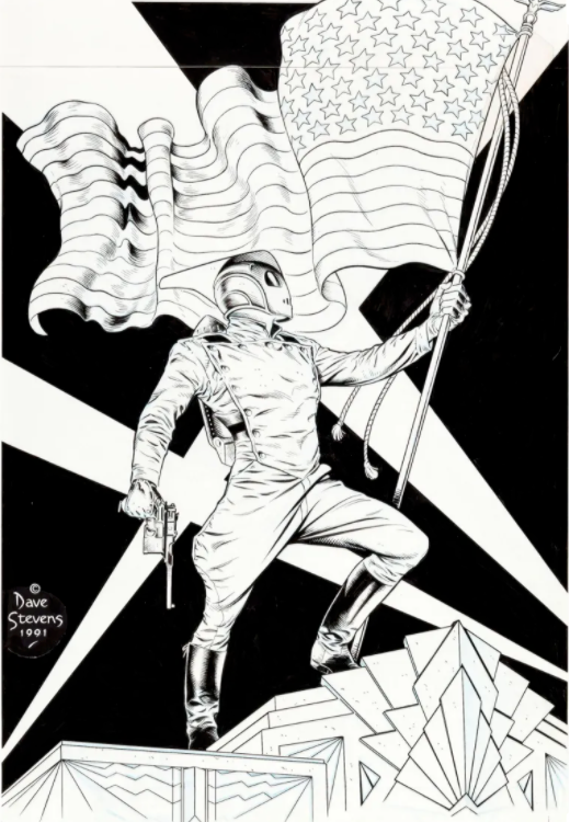 Rocketeer and Old Glory by Dave Stevens