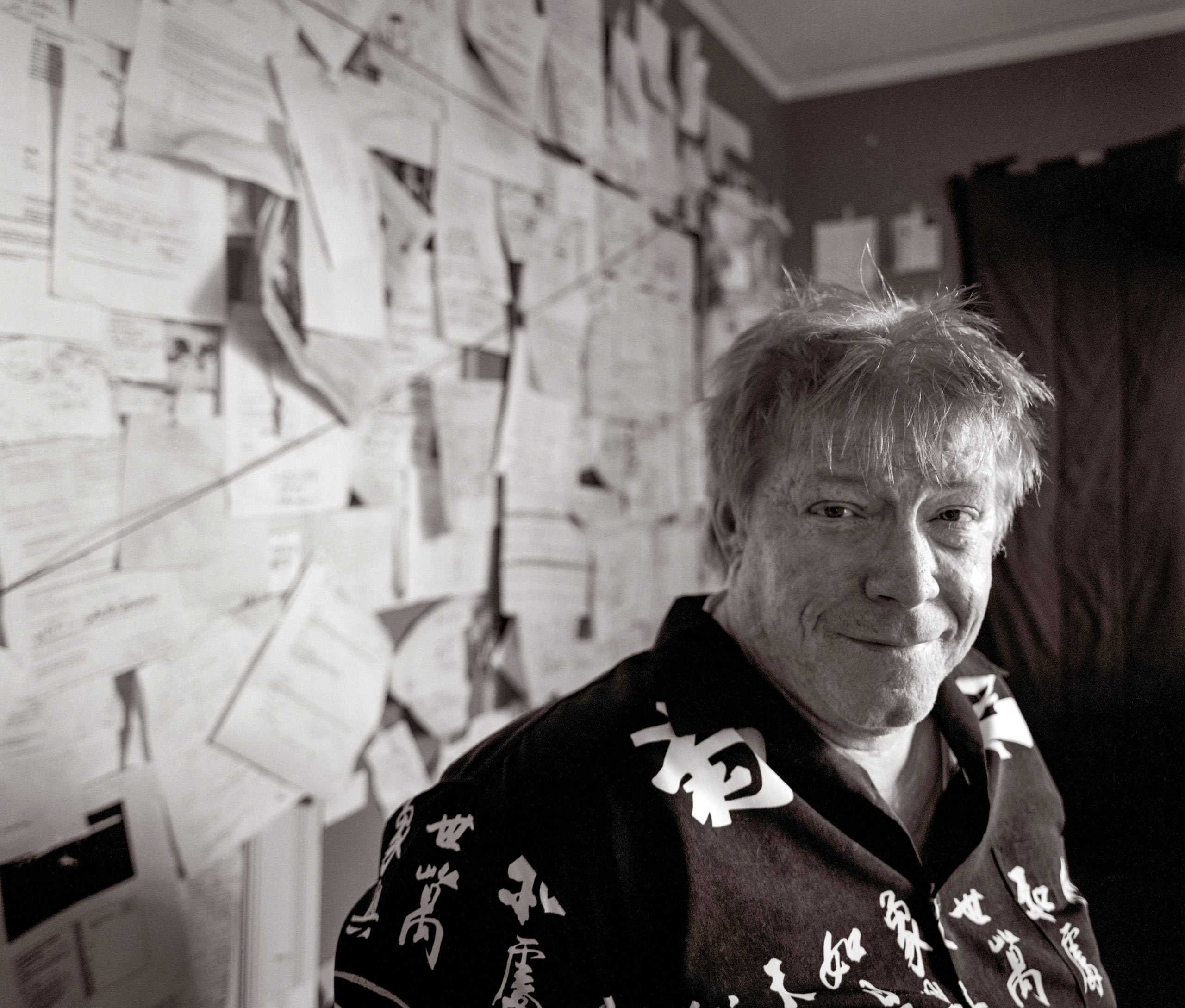 """Cartoonist John Callahan photographed in his studio for the """"Artist Within""""."""
